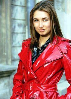 Red PVC Hooded Raincoat | shiny red coats | Pinterest | Hooded ...