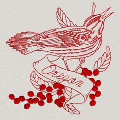 Redwork State Birds #Embroidery