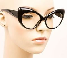 Vintage Pin Up Doll Cat Eye Black Clear Rockabilly Thick Eye Glasses Frames 1434