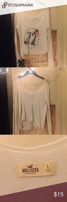 Summer Hollister sweater ♡ I absolutely love this sweater but it is just to big on me as you can see in the last picture! It is supposed to be off the shoulder but I wear a medium so it was a little too off the shoulder 😂 super light material so it's perfect for summer! I only wore it a few times so it's in really good condition. I do accept offers but no trades! ✨ Hollister Sweaters