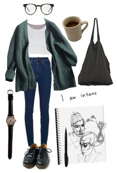 """library study"" by summersunsets ❤ liked on Polyvore featuring Wood Wood, Dr. Martens, Spitfire, Prada, Laneus and Pentel"
