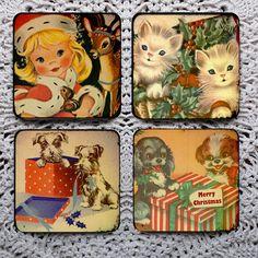 Not a Creature Was Stirring  Vintage Christmas Card mousepad coaster set coasters by Polkadotdog