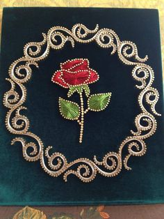 Embroidery On Paper A beautiful string and nail art rose such talent homedecoraccessories – Artofit String Art Diy, String Crafts, Yarn Crafts, Rose Nail Art, Nail Art Diy, Arte Linear, Art Du Fil, String Art Patterns, Thread Art
