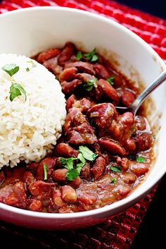 Cajun Red Beans and Rice   I used red pepper and celery seed only 3 cups of water. deglaze sauté pan with water for increased flavor.  used  smoke sausage. I thought this was good but my kids thought it was boring. Maybe some tomatoes?