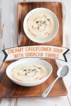 #vegan Creamy Cauliflower Soup with Sriracha Swirls and topped with Toasted Pumpkin Seeds. From ElephantasticVegan.com