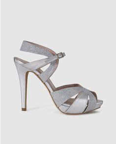 Sandalias de tacón de mujer de Lodi de piel en color plata