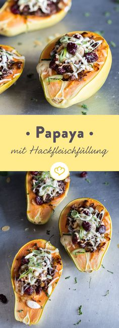 Papaye farcie de viande hachée et de canneberges - Schnelle Küche - Latin Food, Recipes From Heaven, Vegetable Recipes, Carne, Teller, Clean Eating, Food And Drink, Yummy Food, Healthy Recipes