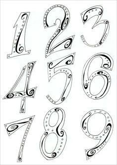 Den10studio - art and running blog: Hand Lettering Numbers - Step 3