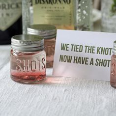 Shot glass wedding favors – we tied the knot, now we have a shot - Wedding Ideas diy Rustic Wedding Favors, Unique Wedding Favors, Wedding Party Favors, Unique Weddings, Wedding Gifts, Wedding Stuff, Wedding Favours Alcohol, Wedding Favours Disney, Wedding Favours Shots