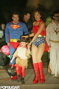 150+ Celebrity Halloween Costumes: In 2002, Heidi Klum blew kisses as Betty Boop in NYC.  : Raffaello Follieri and Anne Hathaway coordinated their 2004 costumes at an NYC party.  : Melissa Rycroft and her husband, Tye Strickland, dressed up as the Flintstones with their daughter, Ava, for the 2011 Dream Halloween charity event in LA. : Kate Beckinsale was one hot Wonder Woman while trick-or-treating with her family in LA in 2004.