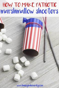 These fun of July games and DIY marshmallow shooters are amazing! Your guests will have a blast playing these games at your next outdoor party. Summer Crafts For Toddlers, Fourth Of July Crafts For Kids, 4th Of July Games, Games For Toddlers, Summer Activities For Kids, 4th Of July Celebration, 4th Of July Party, Toddler Fun, Toddler Crafts