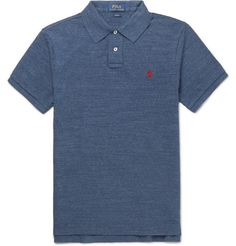 POLO RALPH LAUREN  Slim-Fit Mélange Cotton-Piqué Polo Shirt