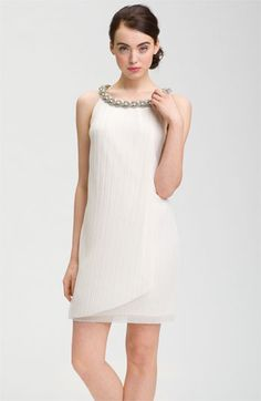 Donna Ricco Embellished Neck Chiffon Shift Dress available at #Nordstrom