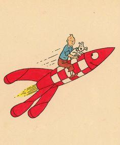 Tintin to the moon Tin Tin Comic, Tin Tin Cartoon, Haddock Tintin, Album Tintin, Herge Tintin, Comic Art, Comic Books, Cultura Pop, Vintage Travel Posters