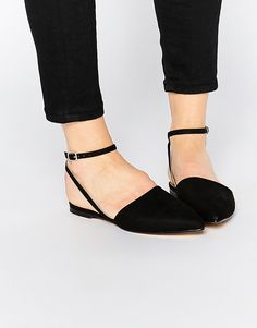 Image 1 of London Rebel Ankle Strap Point Slingback Flat Shoes