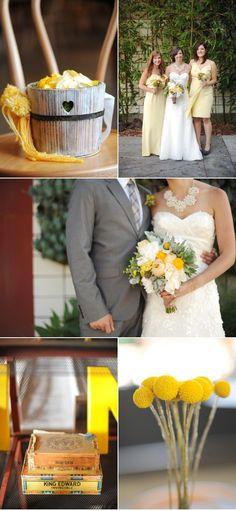 Pretty rustic romantic yellow + white bouquet #wedding