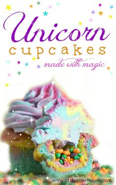 Magical pastel glitter unicorn cupcakes DIY. Recipe by jenny at dapperhouse. Unicorn Party