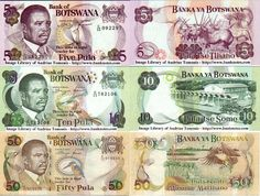 Botswana:  5 Pula (1992); 10 Pula (1992); 50 Pula (1997) (African fish eagle).