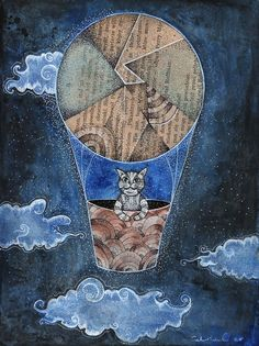 It's a cat...in a balloon :)   Mixed Media illustration soon to be available at my etsy store   https://www.etsy.com/shop/CatColLand