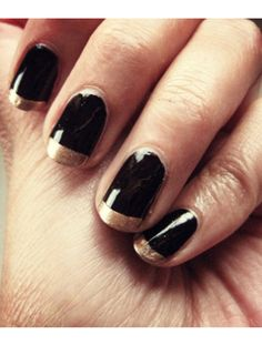How to do a funky French manicure with black and gold polish #nails