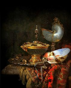 Art Willem Kalf. Pronk Still Life with Holbein Bowl, Nautilus Cup, Glass Goblet and Fruit Dish. 1678