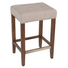 "Nashville Premium Counter Stool Nailhead Beige 26"" / Solid Oak"