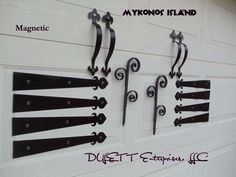 magnetic garage door decorative hardware kit4 hinges black grille carriage house - Garage Door Decorative Hardware