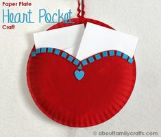 Paper Plate Heart Pocket - Turn 2 paper plates into a fun way to collect Valentine's Day in your classroom.