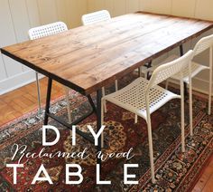 a new bloom: DIY Reclaimed Wood Dining Table - ikea hack Diy Dining Room Table, Diy Table Top, Dining Rooms, Ikea Wood Table, Ikea Table Legs, Ikea Legs, Reclaimed Wood Table Top, Diy Esstisch, Plank Table