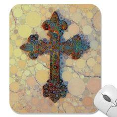 Cool Christian Cross Circle Mosaic Pattern Mouse Pads