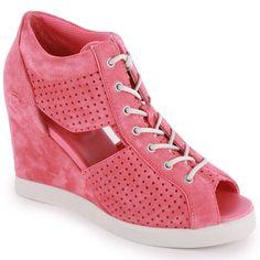 Lacoste Bernelle Peep 2 Pink Suede Women Platform Heels Size US 6 UK 4 EUR 37 #Lacoste #PlatformsWedges #ebay #heels #lacosteheels #fashion