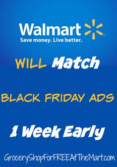 Walmart Will Match Black Friday Ads 1 Week Early! Black Friday Madness, Black Friday Ads, Walmart Shopping, Shopping Hacks, Best Holiday Deals, Coupon Matchups, Couponing For Beginners, Frugal Tips, Coupon Organization