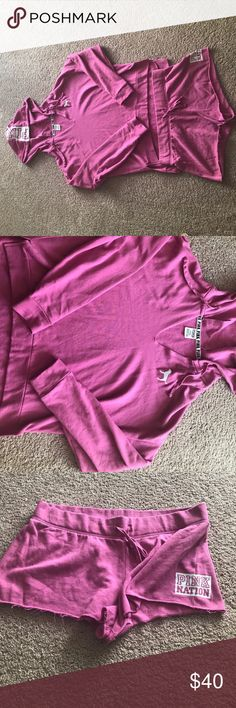 Pink Nation hoodie and short set Like new,worn once. Pink Nation hoodie and short set. PINK Victoria's Secret Other