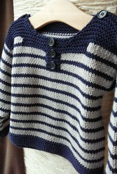 """cotton or wool from 1 month to 18 months. Pictures of a striped and plain version. [ """"Petit mousse / Striped Sweater / 1 mois - 18 mois (free pattern in fren Baby Knitting Patterns, Baby Boy Knitting, Jumper Patterns, Knitting For Kids, Knitting Designs, Baby Patterns, Baby Knits, Baby Cardigan, Crochet Cardigan"""