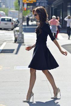Victoria Beckham navy dress, tan heels