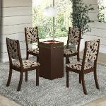 Conjunto Para Sala De Jantar Mesa E 4 Cadeiras Viero Via Com Tampo Choco/Trigo 469,90