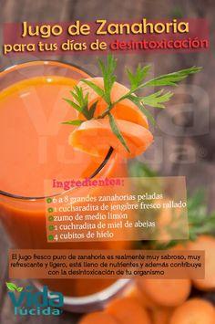 Poderoso desintoxicante con jugo de zanahoria. Ver más recetas en http://www.lavidalucida.com/search/label/Beneficios%20de%20alimentos