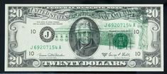 1969-C, $20 Federal Reserve Note. Error: Partial Offsets on Face and Back. PCGS Choice About New 58PPQ Bold offsets are present on both sides. Estimated Value $175 - 225. #Banknotes #USFederal #MADonC