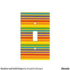 Rainbow and Gold Stripes Switch Plate Covers