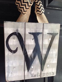 Hand Painted initial letters on distressed painted wood:  front door hanger or wedding gift on Etsy, $27.95