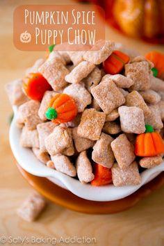 Pumpkin Spice Puppy Chow on sallysbakingaddiction.com Pumpkin Recipes, Fall Recipes, Holiday Recipes, Snack Recipes, Thanksgiving Recipes, Holiday Ideas, Dessert Recipes, Nut Recipes, Popcorn Recipes