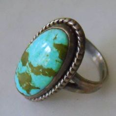"""Sterling Handcrafted Turquoise Ring Huge Stone 3/4"""" Signed x Arrow Vintage Mod 6"""