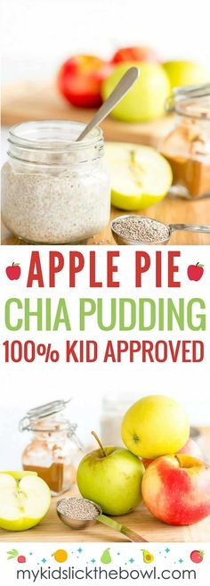 apple pie chia pudding a healthy recipe with apple and cinnamon, egg free custard perfect for baby led weaning #homemadebabyfood #babyfood #chiapudding #babayledweaning