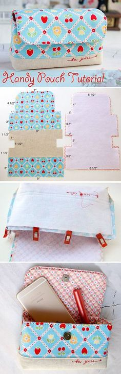 62 Ideas Diy Bag Ideas Pouch Tutorial For 2019 Sewing Hacks, Sewing Tutorials, Sewing Crafts, Tote Bag Tutorials, Tutorial Sewing, Sewing Tips, Purse Patterns, Sewing Patterns, Patchwork Patterns