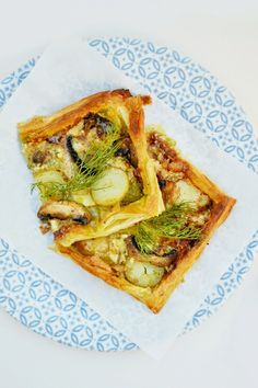 Brie, Potato and Mushroom Tart. A quick vegetarian tart made with puff pastry. Great with salad for dinner and leftovers are fab for lunch.