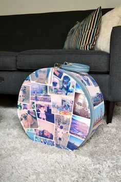 Decorate a vintage suitcase with Mod Podge and photos! Great personalized DIY project.