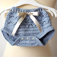 Blue Knit Diaper Cover with Bow • so cute • easy to make