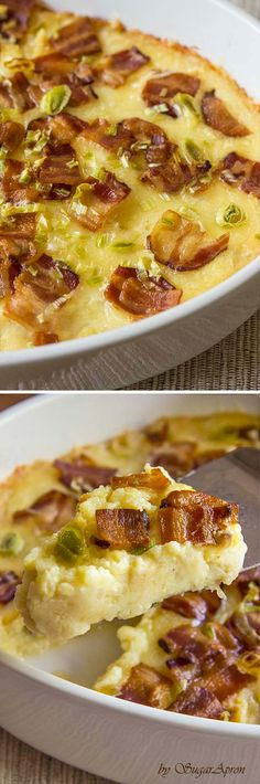 Twice Baked Potatoes Casserole with Cream Cheese, Bacon, and Garlic