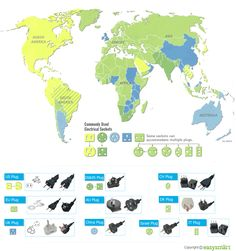 This Map Shows What Power Adapters You Need for a Ton of Countries by easysmart via lifehacker #Travel #Power_Adapters
