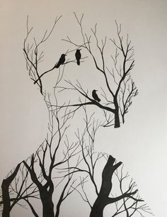 In your head fine liner px : Art Space Drawings, Dark Art Drawings, Pencil Art Drawings, Art Drawings Sketches, Drawing Art, Meaningful Paintings, Meaningful Drawings, Art Du Croquis, Illusion Art